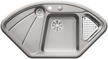 BLANCODELTA, Ceramic PuraPlus™, alu grey, with drain remote control, with colander, 70 cm min. cabinet size