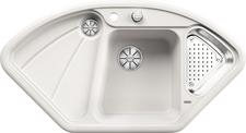 BLANCODELTA, Ceramic PuraPlus™, crystal white glossy, with drain remote control, with colander, 70 cm min. cabinet size