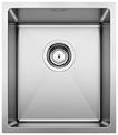 S/S SINK BLANCO QUATRUS R15 340-IU, Stainless steel brushed finish, w/o waste fitting, 40 cm min. cabinet size