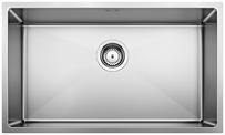 S/S SINK BLANCO QUATRUS R15 700-IU, Stainless steel brushed finish, w/o waste fitting, 80 cm min. cabinet size