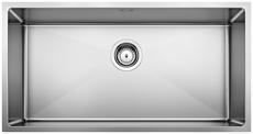 S/S SINK BLANCO QUATRUS R15 800-IU, Stainless steel brushed finish, w/o waste fitting, 90 cm min. cabinet size