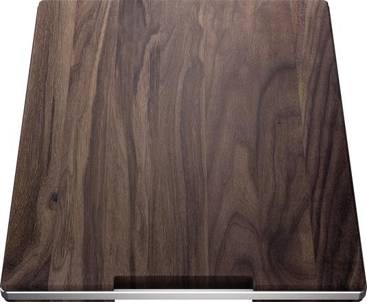 Chopping board walnut with stainless steel grip 420 x 362 mm, solid nutwood