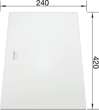 Glass Cutting board white, frosted glass  ZEROX 420 x 240 mm, safety glass satinised