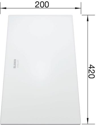 Glass Cutting board white frosted glass ZEROX 420 x 200 mm, safety glass satinised