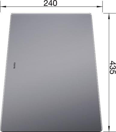 Cutting board safety glass UNDER-/SUBLINE 435 x 240 mm, safety glass