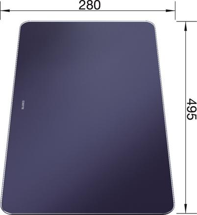 Cutting board safety glass in velvety matt night blue ANDANO XL 495 x 280 mm, safety glass