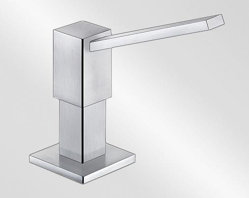 BLANCO QUADRIS Soap dispenser stainless steel brushed finish Contains: 500 ml, Stainless steel solid, Stainless steel satin matt