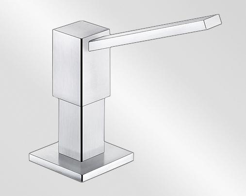 BLANCO QUADRIS Soap dispenser contains: 500 ml, Stainless steel solid, stainless steel satin polish
